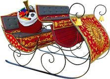 Santa Claus Sleigh, Toys, Isolated. Santa Claus sleigh with a bag of toys. It`s the holiday season with this joyful Christmas scene. The holidays are filled with royalty free stock image