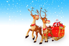 Santa claus with sleigh of two reindeer in iceland Royalty Free Stock Images
