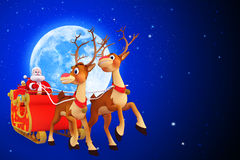 Santa claus with sleigh of two reindeers Stock Photography