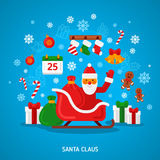 Santa Claus on Sleigh. Vector illustration. Merry Christmas Card in Flat Style. Creative New Year Icon Concept. Happy Xmas Greeting Character Royalty Free Stock Image