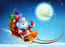 Santa Claus in a sleigh Stock Photo