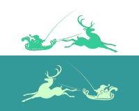 Santa Claus in slitta con la renna illustrazione di stock