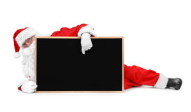 Santa claus and small blackboard Royalty Free Stock Photo