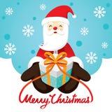 Santa Claus Smiling And Gift Box stock illustratie