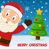 Santa Claus Smiling and Greeting Card. A funny Merry Christmas card with a cute Santa Claus character, a Christmas tree and snowflakes. Eps file available Royalty Free Stock Images