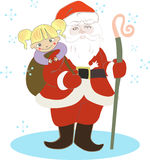 Santa Claus and smiling little girl Stock Image