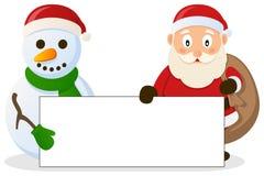 Santa Claus & snögubbe med banret Royaltyfri Bild