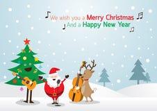 Santa Claus snögubbe, ren som spelar musikbakgrund Vektor Illustrationer