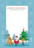 Santa Claus snögubbe, ren som spelar musikramen Stock Illustrationer