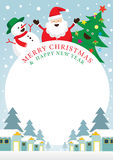 Santa Claus snögubbe, träd, ram Stock Illustrationer