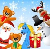 Santa Claus, snöman och fän Royaltyfri Fotografi