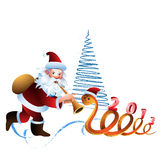 Santa Claus and the snake. On a white background with  Christmas tree Royalty Free Stock Photo