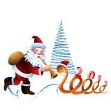 Santa Claus and the snake Royalty Free Stock Photo