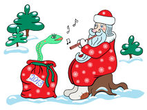 Santa Claus and the snake. Christmas card 2013 Stock Images