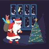 Santa Claus sneaks. Around the house at night to put presents for children under the Christmas tree on Christmas Eve. Vector illustration eps 10 Royalty Free Stock Image