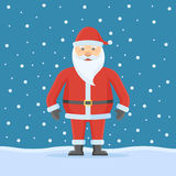 Santa Claus on snow background. Flat style. Christmas vector illustration Royalty Free Stock Photography