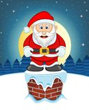 Santa Claus, Snow, Chimney And Full Moon At Night Stock Photo