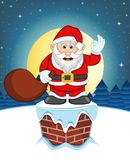 Santa Claus, Snow, Chimney And Full Moon At Night For Your Design Vector Illustration Stock Images