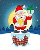 Santa Claus, Snow, Chimney And Full Moon At Night For Your Design Vector Illustration Stock Photos