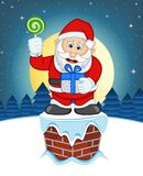 Santa Claus, Snow, Chimney And Full Moon At Night For Your Design Vector Illustration Royalty Free Stock Image