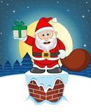 Santa Claus, Snow, Chimney And Full Moon At Night For Your Design Vector Illustration Royalty Free Stock Photo