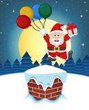 Santa Claus, Snow, Chimney And Full Moon At Night For Your Design Vector Illustration Stock Image