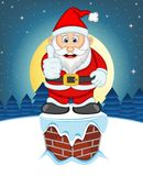 Santa Claus, Snow, Chimney And Full Moon At Night For Your Design Vector Illustration Royalty Free Stock Photos