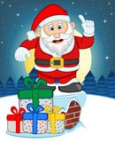 Santa Claus, Snow, Chimney And Full Moon At Night For Your Design Vector Illustration Royalty Free Stock Photography