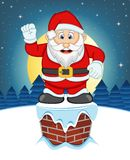 Santa Claus, Snow, Chimney And Full Moon At Night For Your Design Vector Illustration Royalty Free Stock Images
