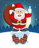 Santa Claus, Snow, Chimney And Full Moon At Night For Your Design Vector Illustration Stock Photo