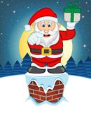 Santa Claus, Snow, Chimney And Full Moon At Night For Your Design Vector Illustration Stock Photography