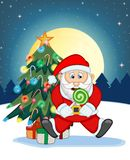 Santa Claus, Snow, Christmas Tree and Full Moon At Night For Your Design Vector Illustration Royalty Free Stock Photography