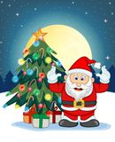 Santa Claus, Snow, Christmas Tree and Full Moon At Night For Your Design Vector Illustration Stock Images