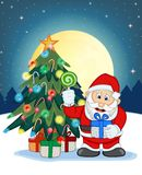 Santa Claus, Snow, Christmas Tree and Full Moon At Night For Your Design Vector Illustration Stock Photography