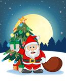 Santa Claus, Snow, Christmas Tree and Full Moon At Night For Your Design Vector Illustration Stock Photos