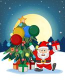 Santa Claus, Snow, Christmas Tree and Full Moon At Night For Your Design Vector Illustration Royalty Free Stock Photos