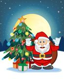 Santa Claus, Snow, Christmas Tree and Full Moon At Night For Your Design Vector Illustration Royalty Free Stock Photo