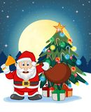Santa Claus, Snow, Christmas Tree and Full Moon At Night For Your Design Vector Illustration Stock Photo
