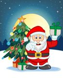 Santa Claus, Snow, Christmas Tree and Full Moon At Night For Your Design Vector Illustration Royalty Free Stock Images