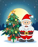 Santa Claus, Snow, Christmas Tree and Full Moon At Night For Your Design Vector Illustration Royalty Free Stock Image