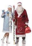 Santa Claus and snow girl Royalty Free Stock Photos