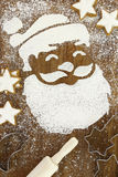 Santa Claus and snow made of flour Royalty Free Stock Images