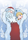 Santa Claus and Snow Maiden. Russian Santa Claus and Snow Maiden - congratulatory card with vegetative pattern Stock Images