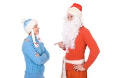Santa Claus and the Snow Maiden Stock Image