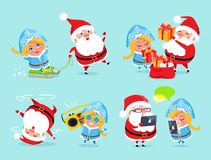 Santa Claus and Snow Maiden Vector Illustration Royalty Free Stock Photo