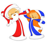 Santa Claus and Snow Maiden. Dancing Royalty Free Stock Images