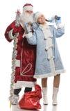 Santa Claus and snow maiden dancing Royalty Free Stock Photo