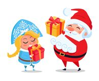 Santa Claus and Snow Maiden Decor Present Boxes. Santa Claus and Snow Maiden with decorated present boxes in hands vector illustration cartoon characters with Royalty Free Stock Photography