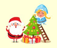 Santa and Christmas Tree, Vector Illustration. Santa Claus and Snow Maiden decorating Christmas tree, winter characters and pine with balls and stars, presents Stock Photos