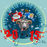 Santa Claus and Snow Maiden grabbed the horns sheep. New year 2015. Santa Claus and Snow Maiden grabbed the horns sheep Royalty Free Stock Photography